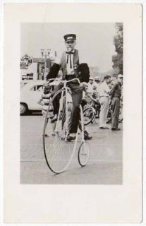 RPPC Man Riding a Penny Farthing High Wheel Bicycle