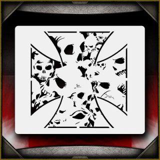 Skull Iron Cross Airbrush Stencil Template Airsick