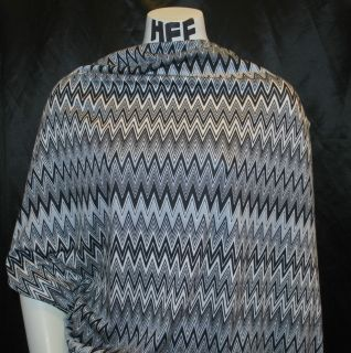 Stretch Jersey Knit Fabric Missoni Zig Zag Style black white and gray