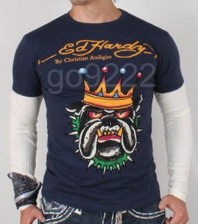 NWT Mens Ed hardy Bulldog Double Sleeve Slim fit Tee shirt/Size M,L