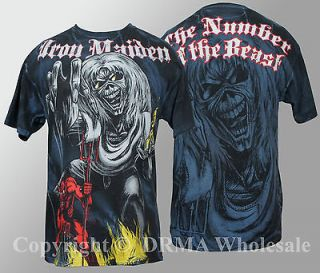 Authentic IRON MAIDEN Sketched Number Of The Beast ALLOVER T Shirt S M