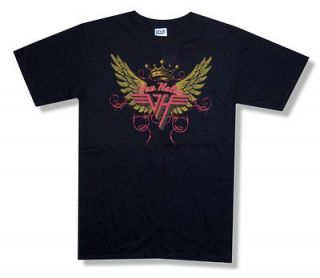 VAN HALEN   WINGS LOGO CROWN BLACK T SHIRT   NEW ADULT LARGE L