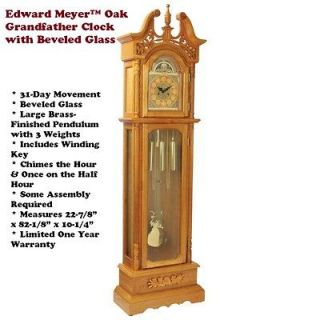 Oak Grandfather Clock by Edward Meyer Winding Key 31 Day Movement 1 Yr