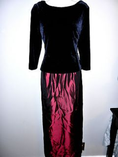 LADIES BURGUNDY & BLACK VELVET WINTER HOLIDAY FORMAL DRESS ~SZ 6