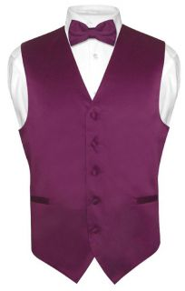 Mens EGGPLANT PURPLE Dress Vest BOWTie Set for Suit or Tuxedo Extra