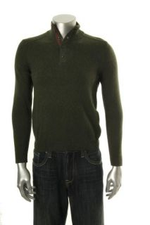 Tasso Elba NEW Green Ribbed Shoulder Funnel Snap Zip Neck Pullover
