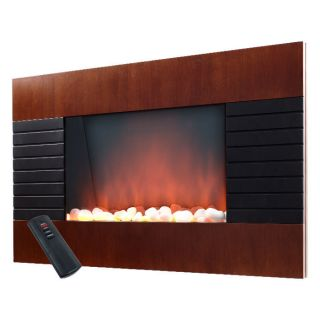 Mahogany Electric Fireplace Heater with Remote   Wall Mounted
