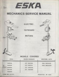 1970s ESKA ELECTRIC OUTBOARD MOTOR MECHANICS SERVICE MANUAL
