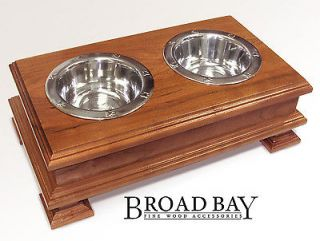 Cherry Finish Solid Wood Elevated Dog Dish Bowl Holder PET FEEDER