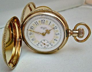 ELGIN 14k SOLID GOLD HUNTER CASE FANCY DIAL GREAT LOOKING POCKET WATCH
