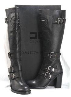 NEW ELISABETTA FRANCHI CELYN B. BLACK LEATHER BUCKLED LOGO HIGH BOOTS