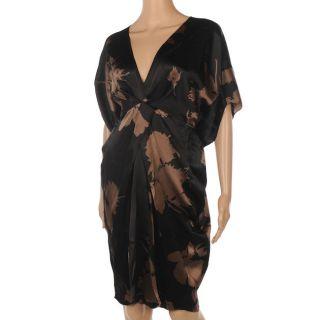 JF 208 NANCY MAC Tallulah Black & Brown Silk Dress Size 2 / UK 12 RRP