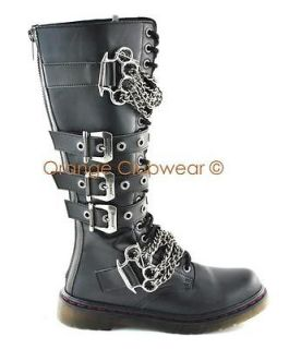 DISORDER 402 Mens Combat Style Punk Goth Knee High Buckle Boots Shoes