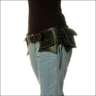 BLACK LEATHER BELT BAG POUCH POCKET WAIST HIP BUM RAVE PARTY Wear Cool