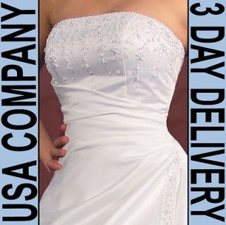 Elsa Corset Strapless Beaded Wedding Dress Gown Size 10 Ivory   Brand