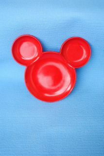 Disney MICKEY MOUSE DINNER PLATE Toddler Child Dish Minnie Ears RED