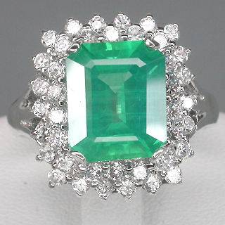 SLYLISH  TOP GREEN EMERALD & SAPPHIRE REAL 925 STERLING SILVER RING