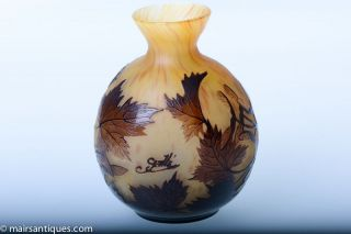 Stunning Cameo Glass Vase by Emile Galle, Circa Late 19th to Early