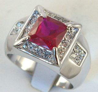 MENS RING simulated Russian RUBY WHITE gold overlay 14