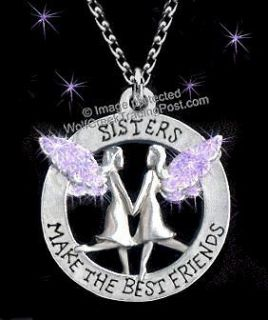 SISTERS MAKE THE BEST FRIENDS NECKLACE ANGELS 24 PURPLE   SWEET GIFT