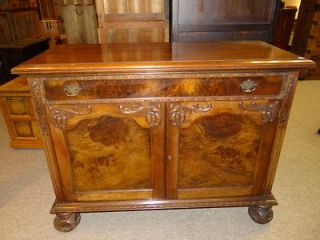 ENGLISH BURL WOOD ENTRY HALL ACCENT SOFA CABINET BUFFET TABLE