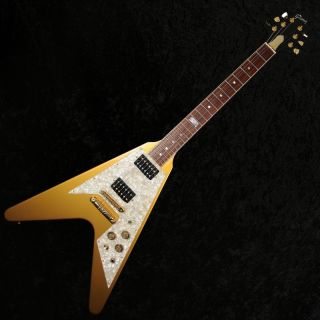 Gibson Flying V 1994 Centennial Guitar   Antique Gold   Preowned