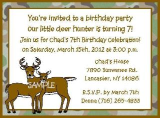 DEER HUNTER HUNTING CAMOUFLAGE BUCK & DOE ANY AGE BIRTHDAY PARTY