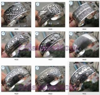 Ethnic Classical Tibet Silver totem blessings Cuff bangle & Bracelet 9