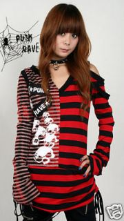 Visual kei Punk rave Rock STRIPED Shirt top skulll printed free