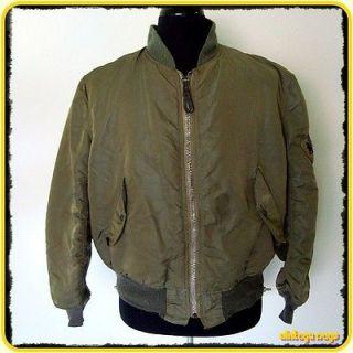 1980s USAF Alpha Vinage MA 1 FLIGH JACKE Mens Size L Large Green US