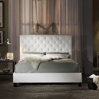 Upholstered Queen Size White Faux Leather Platform Bed with Headboard