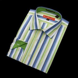 Mens New green blue white colorful Stripe Dress Shirt 100% Cotton size