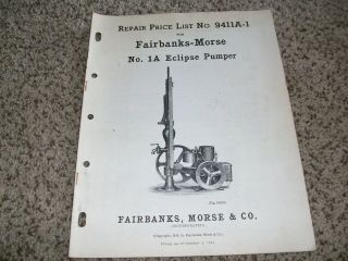 Fairbanks Morse Eclipse Pump ORIGINAL Repair Price List Hit and Miss