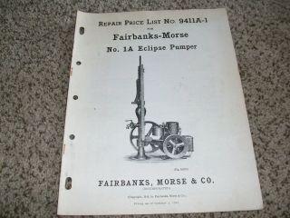 Fairbanks Morse Eclipse Pump ORIGINAL Repair Price List Hit and Miss