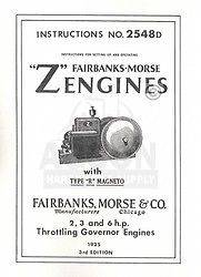 Fairbanks Morse Z R 2 3 6 HP Hit & Miss Engine Manual