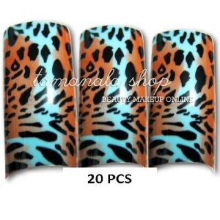 20PCS False Nails French manicure Fake Leopard Print Nail Art Tips