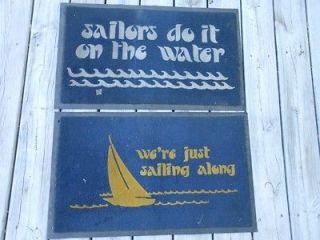 Vtg 1970s Nautical BOAT Dock DOOR MATS Rugs SAILORS DO IT