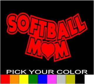 SOFTBALL MOM 6 DECAL STICKER VINYL CAR WINDOW