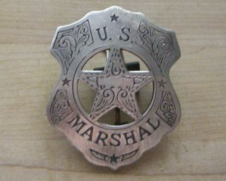 MARSHALL BADGE B W  25 SHERIFF WESTERN POLICE