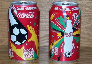 2010 USA LE COCA COLA FIFA WORLD CUP 12 oz 355ml FULL COKE 2 CAN SET