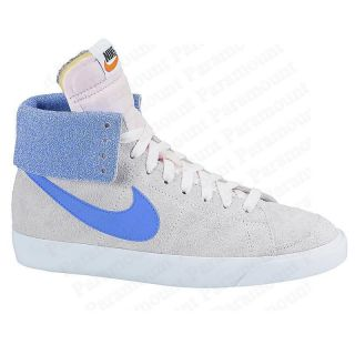Nike Blazer High Roll Top Suede Sports Trainers Shoes Oatmeal/Blue
