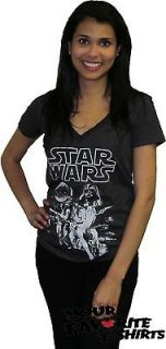 Licensed Star Wars Vintage Movie Poster Women Junior V Neck Shirt S XL
