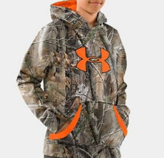 NWT Youth Medium Under Armour RealTree AP Big Logo Hoodie Boys Camo