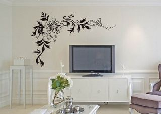 HOT Butterfly Vine Flower Wall Stickers art Decor Decal Vinyl Mural