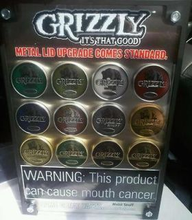 New Grizzly Tobacco Promo Advertising Sign NEW   man cave snuff chew