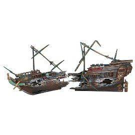 Galleon 2pcs sunken shipwreck aquarium decorations ornaments for Split fish tank