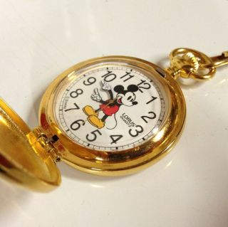 LORUS MICKEY MOUSE V501 0A60 GOLD TONE POCKET WATCH IN ORIGINAL BOX