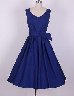 50s Audrey Hepburn Style Navy blue Dress Size 4X Pinup Vintage