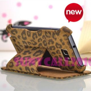Leopard Flip stand leather Case Cover Skin for Samsung GALAXY NOTE