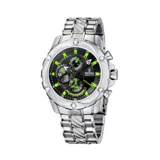 Festina Mens F16525/3 Silver Stainless Steel Quartz Watch with Black